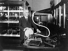 Emile Berliner with phonograph